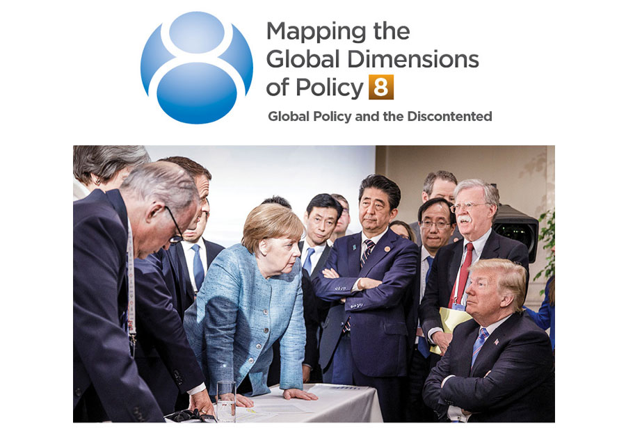 President Donald Trump and his staff smirk as Angela Merkel and other world leaders react incredulously to their continued unwillingness to work collaboratively at the end of a spontaneously meeting at the 2018 G-7 Meeting in Charlevoix, Québec.